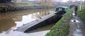 Capsized boat at the Bingley Arms on the Calder & Hebble near Wakefield. Righted and refloated on 6 Jan.